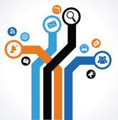 Marketing diseño — Vector de stock