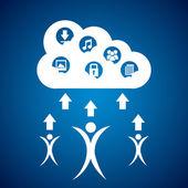 Bilgi işlem bulutlar — Stok Vektör