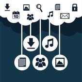雲コンピューティング — ストックベクタ
