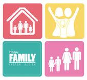 Disegno famiglia — Vettoriale Stock