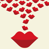 Love design with lips — 图库矢量图片