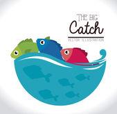 Balıkçılık tasarım — Stok Vektör