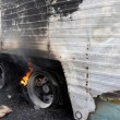 Burning Truck Wheels Accident — Stock Photo