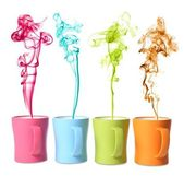 Coffee or Tea Mugs with color steam — Stock Photo
