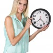 Pretty Lady Pointing to Clock — Stock Photo #43835833