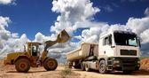 Front End Loader Filling Truck — Stock Photo