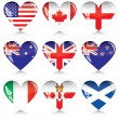 Hearts of English-speaking countries — Stock Vector