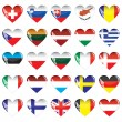 Hearts of European countries — Stock Vector