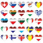 Hearts of European countries — Stock Vector