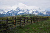 Mountain landscape and fence — Stock Photo