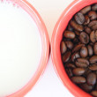 Stock Photo: Two cups with coffee and milk
