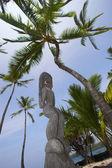 Idol and palms — Stock Photo