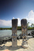 Wooden statues of idols standing on sandy shore in Hawaii — Stock Photo