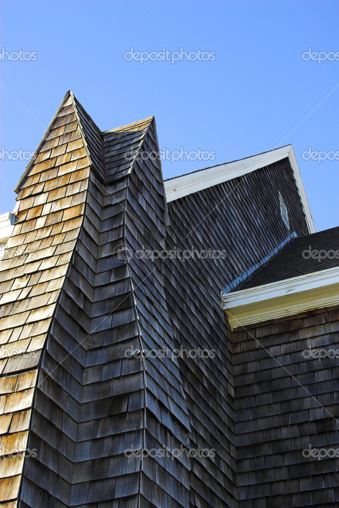 Fragment of historic wooden church with shingled walls and roof    Stock Photo #14822015
