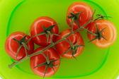 Pomidory na zielony talerz — Zdjęcie stockowe