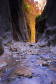 Hikers inside canyon — Stock Photo