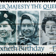 Stock Photo: Postage Stamp 60th Birthday Queen Elizabeth 2nd