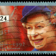 Postage Stamp Queen Elizabeth 2nd 40th Anniversary - Stock Photo