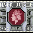 Postage Stamp Silver Jubilee Queen Elizabeth 2nd — Stock Photo