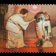 Star Wars Princess Leia and R2D2 Postage Stamp - Stock Photo