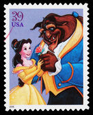 Disney Beauty and the Beast Postage Stamp — Stock Photo