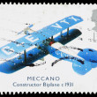 Britain Meccano Biplane Postage Stamp — Stock Photo