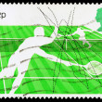 Britain Tennis Postage Stamp — Stock Photo
