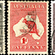 Vintage postage stamps of Australia. - Stock Photo