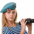 Portrait of the girl in the troop are taking, with binoculars in — Stock Photo