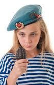 Portrait of the girl in the troop beret with a grenade in his ha — Stock Photo