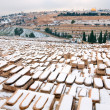 Snowy Memorial Jewish cemetery on the Mount of Olives. — Stock Photo