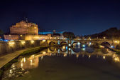 Rome, the castle and the bridge angel, night landscape. — Stock Photo