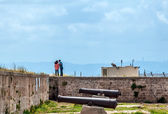 Old cannon on the ramparts in Acre. — Stock Photo