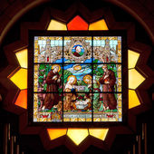 Palestine, stained glass in Church of the Nativity in Bethlehem. — Stockfoto