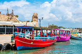Israel, pleasure boats for tourists in Old Acre. — Stock Photo