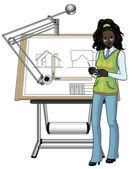 アフリカのレースの女性建築家 — ストックベクタ