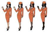 Stewardesses set — Stock Vector