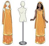 Asian woman tries on wedding sari — Stock Vector
