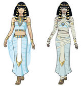 Egyptian Queen and female Mummy — Stockvector