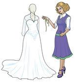 Caucasian female costume designer works on wedding gown — Stock Vector