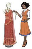 Indonesian female costume designer works on wedding sari — Stock Vector