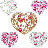 Set of jewelry designed hearts — Vector de stock