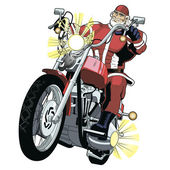 Mighty santa on motorbike — Stock Vector