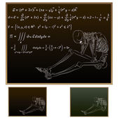 Skeleton on school blackboard with higher Mathematics equations — Stock Vector