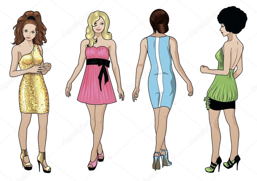 Mujeres De Raza Cauc Sica En Vestidos De C Ctel Vector