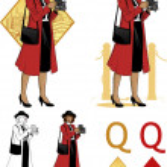 Queen of diamonds afroamerican woman photographer Mafia card set — Stock Vector #49977301