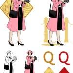 Queen of diamonds  asian woman photographer Mafia card set — Stock Vector #49978583