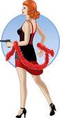Retro caucasian girl with a gun in cartoon style — Stock Vector
