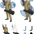 Постер, плакат: Jack of clubs Hispanic mafioso with Tommy gun Mafia card set