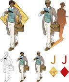 Jack of diamonds afroamerican boy with a gun Mafia card set — Stock Vector
